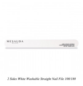 2 Sides White Washable Straight Nail File 100/180 / Двустранна миеща се бяла пила 100/180